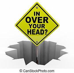 hoofd, jouw, op, werken, illustratie, meldingsbord, veel, gat, overweldigde, 3d