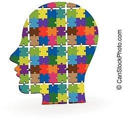 hoofd, kleurrijke, raadsel, menselijk, logo, 3d