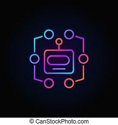 hoofd, kleurrijke, robot, meldingsbord, machine, vector, leren, icon.