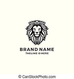 hoofd, leeuw, vector, mal, logo, pictogram