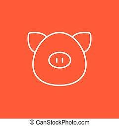 hoofd, lijn, icon., varken