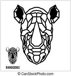 hoofd, lineair, abstract, polygonal, rhino., vector.