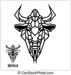 hoofd, lineair, abstract, polygonal, vector., buffalo.