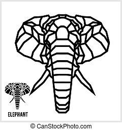 hoofd, lineair, abstract, polygonal, vector., elephant.