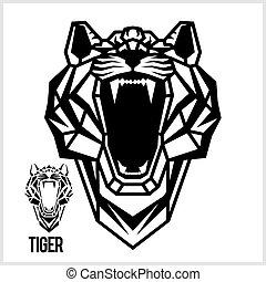 hoofd, lineair, abstract, polygonal, vector., tiger.