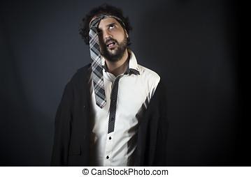 hoofd, man, jonge, stropdas, dronken
