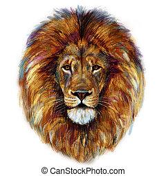 hoofd, mannelijke , schilderij, leeuw, digitale