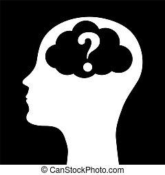 hoofd, menselijk, silhouette