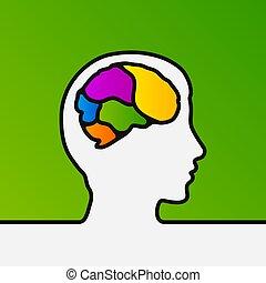 hoofd, menselijk, vormen, binnenkant., een, hersenen, mind., vector., lijn, creatief