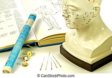 hoofd, moxa, schoolboek, acupunctuur, model, naalden, rol