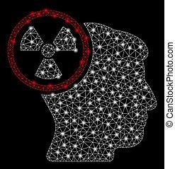 hoofd, netwerk, denken, flits, stippen, helder, maas, nucleair