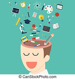 hoofd, opleiding, iconen, menselijk