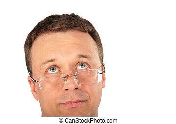 hoofd, peinzend, opkijken, bril, man