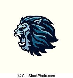 hoofd, pictogram, leeuw, vector, logo, gebrul, mascotte