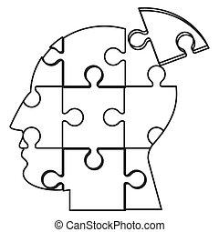 hoofd, pictogram, raadsel, menselijk, stukken
