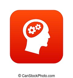hoofd, pictogram, tandwiel, rood, digitale