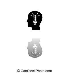 hoofd, plat, idee, pictogram