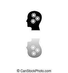 hoofd, plat, tandwiel, pictogram