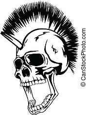 hoofd, punker, schedel