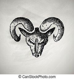 hoofd, ram, pictogram