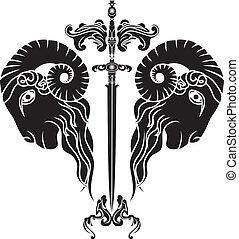hoofd, ram, weerspiegelde, zwaard