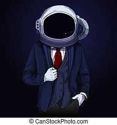 hoofd, ruimte, zijn, elegant, helm, gevolg, man