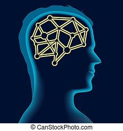 hoofd, silhouette, blue., op, hersenen, mannelijke , zacht, pictogram