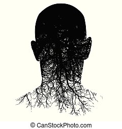 hoofd, silhouette, dit, morphs, man?s, wortels