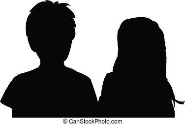 hoofd, silhouette, kinderen