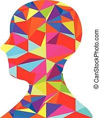 hoofd, silhouette, kleurrijke, menselijk
