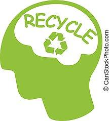 hoofd, silhouette, meldingsbord, groene, hergebruiken, woord