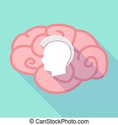 hoofd, silhouette, punker, lang, hersenen, schaduw, mannelijke