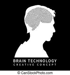 hoofd, silhouette, splinter, hersenen, zwarte achtergrond, mannelijke