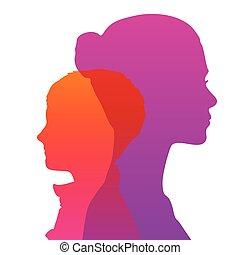 hoofd, silhouette