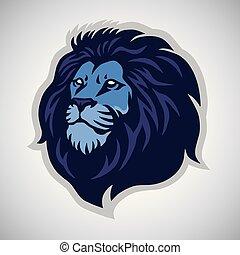 hoofd, sporten, leeuw, vector, mal, logo, mascotte, pictogram