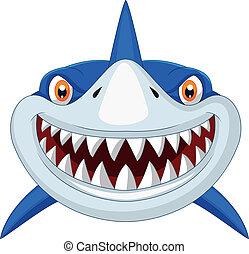 hoofd, spotprent, haai