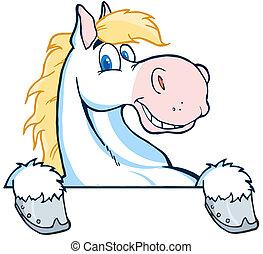 hoofd, spotprent, mascotte, paarde