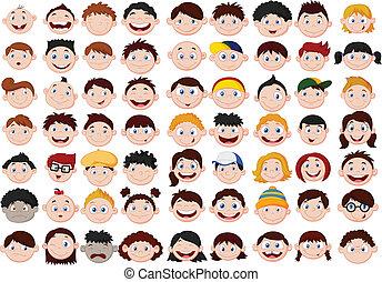 hoofd, spotprent, set, kinderen