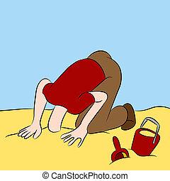 hoofd, stuck, in het zand