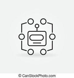 hoofd, symbool, robot, machine, vector, leren, lijn, icon.