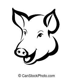 hoofd, symbool, vrijstaand, varken, vector, verticaal, vrolijke