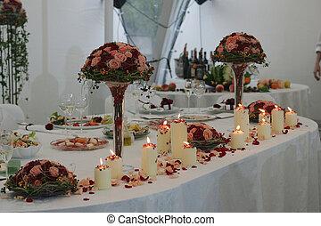 hoofd, tafel, op, de ontvangst van het huwelijk