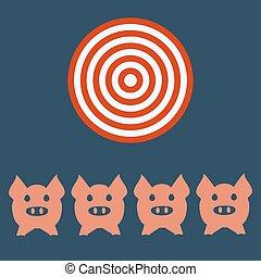 hoofd, targt, concept., gezicht, landbouw, icon., varken, landbouw, of