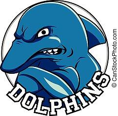 hoofd, titel, dolfijn, logo, dolfijnen, mascotte