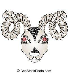 hoofd van, de, ram, (ram, head)., zodiac tekens, -, ram, (colored)., eyes, van, rood, robijnen, (precious, stones)., grafisch, model, met, gem.