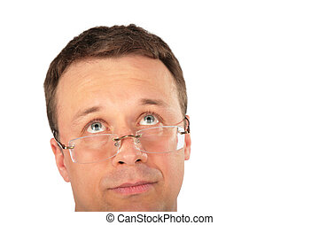 hoofd van, peinzend, man, in, bril, opkijken