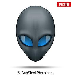 hoofd, vector., alien, een ander, world., schepsel