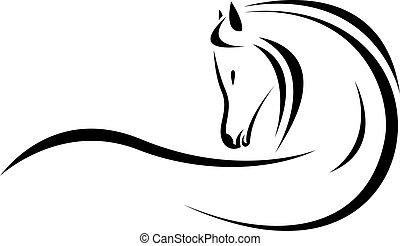 hoofd, vector, paarde