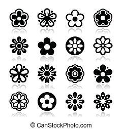 hoofd, vector, set, bloem, iconen
