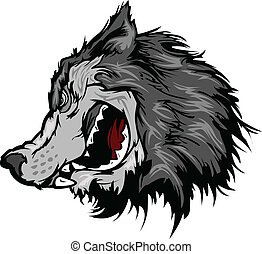 hoofd, vector, wolf, spotprent, mascotte